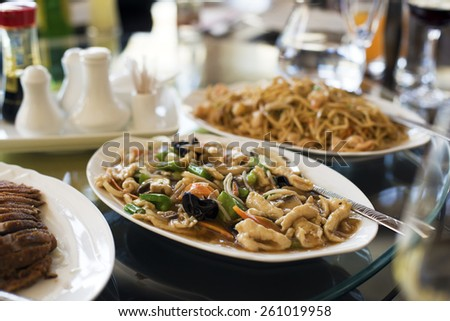 Traditional chicken chop suey in restaurant close up - stock photo