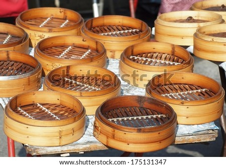 Traditional Chinese bamboo steamers used to make dumplings and steamed bread
