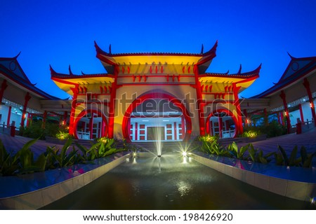 traditional chinese building via fish eye lens - stock photo