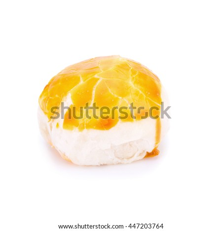 Traditional Chinese cake dessert wite salted egg yolk isolated on white - stock photo