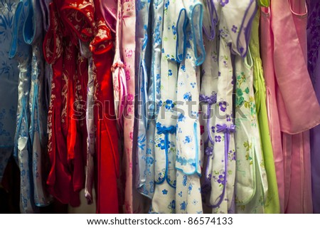 traditional Chinese clothing in a shop