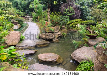 Traditional chinese garden - stock photo