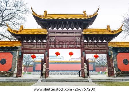 Traditional Chinese gate, Located in Chaotian Palace (Nanjing Municipal Museum), Nanjing City, Jiangsu Province, China. - stock photo