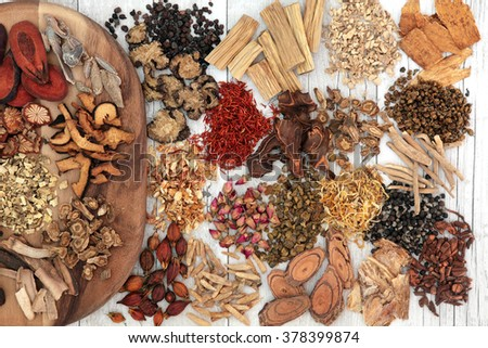 Traditional chinese herbal medicine ingredients on a maple wood board and loose over distressed white wood background. - stock photo
