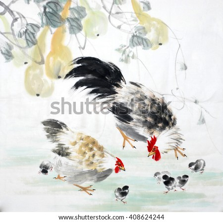 Traditional chinese ink painting. - stock photo