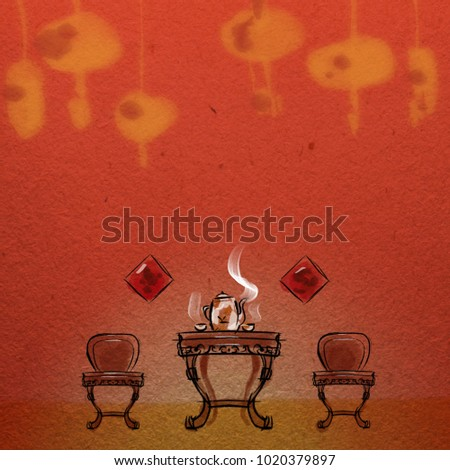 Traditional Chinese New Year Furniture Setting Greeting Card Background