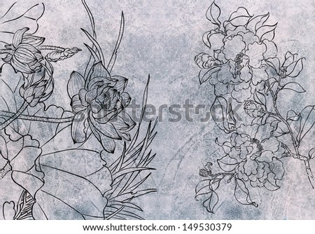 Traditional Flower Line Drawing : Traditional chinese painting freehand sketchingnatureflower