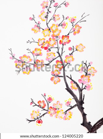 Traditional Chinese painting of flowers, plum blossom close up white background - stock photo