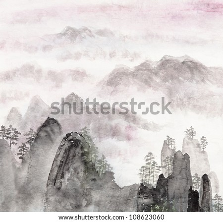 Traditional Chinese painting of high mountain landscape with cloud and mist - stock photo