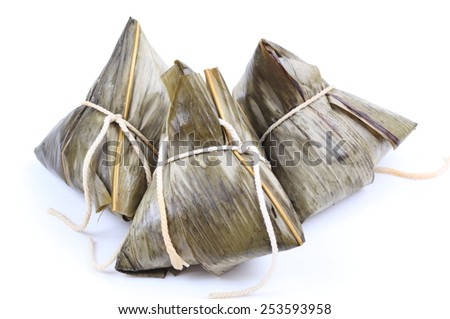 Traditional Chinese rice dumpling isolated on white background - stock photo