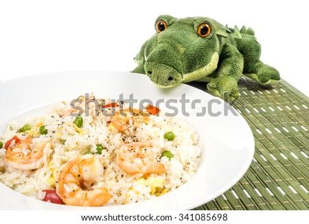 Traditional Chinese Shrimp Fried Rice Dish - stock photo