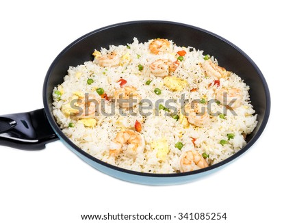 Traditional Chinese Shrimp Fried Rice in a Frying Pan Isolated on White - stock photo