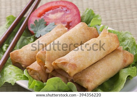 Traditional Chinese Spring Rolls on a bed of lettuce - stock photo