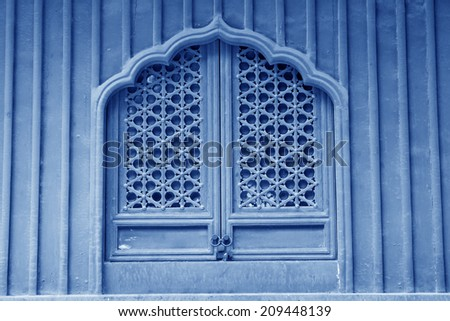 traditional chinese style wooden lattice windows stock photo