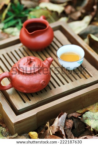 Traditional chinese tea ceremony accessories (tea pot and tea pair) on the tea table amongst autumn leaves, selective focus on the teapot - stock photo
