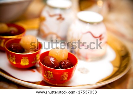 traditional chinese wedding tea ceremony cutlery and serving