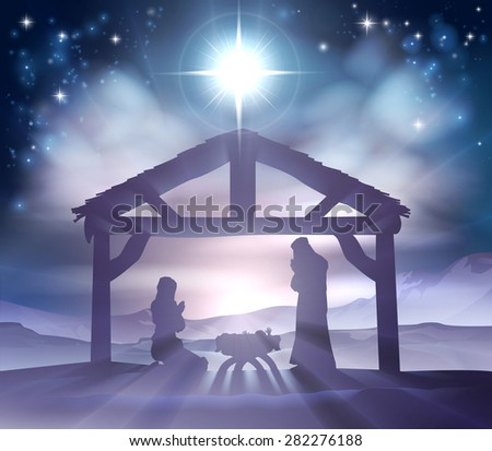 Traditional Christian Christmas Nativity Scene Of Baby Jesus In The Manger  With Mary And Joseph In