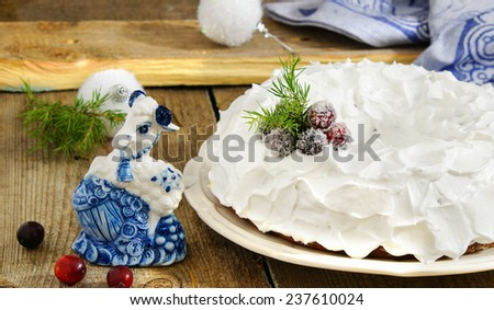 Traditional Christmas banana cake with a Goat - simbol the New Year 2015 - stock photo