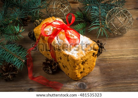 Traditional Christmas cake with raisins and powdered sugar. Copy space