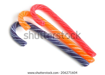 Traditional christmas candies on white background - stock photo