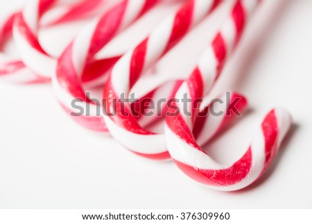 Traditional christmas candy background. Selective focus. - stock photo