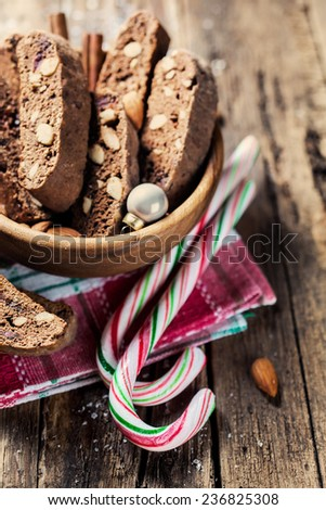 Traditional christmas candy cane and cookies - stock photo