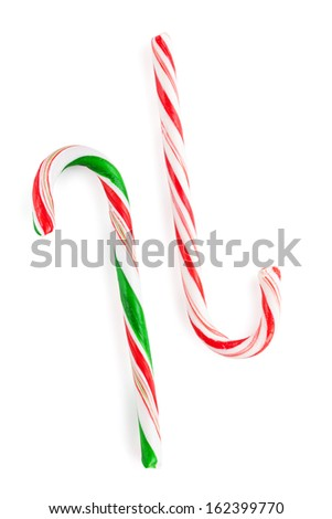 Traditional christmas candy canes. Isolated on white background - stock photo