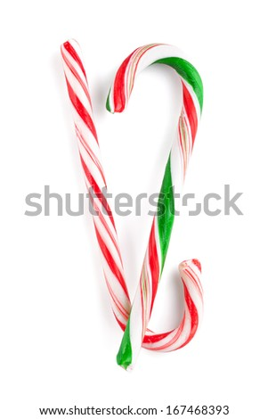 Traditional christmas candy canes. Isolated on white background