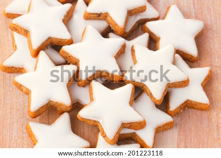 Traditional christmas cookies with cinnamon in star form - stock photo