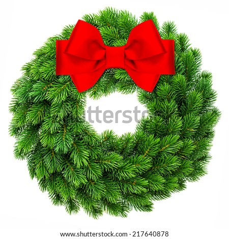 traditional christmas decoration evergreen wreath wit red ribbon bow isolated on white background - stock photo