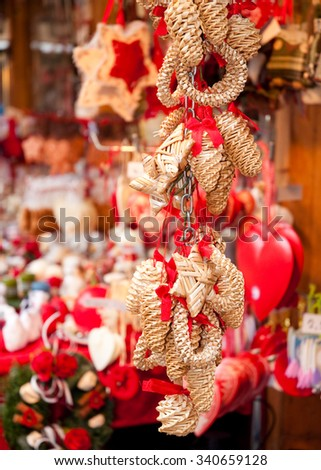 Traditional Christmas decorations on Christmas market