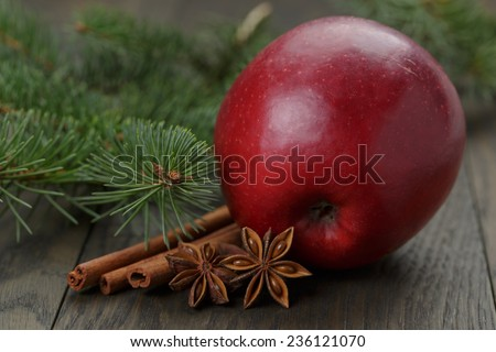 traditional christmas decorations on old table, dark photo