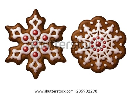 traditional Christmas gingerbread cookies illustration, isolated objects, snowflake, star - stock photo