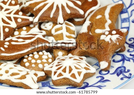Traditional Christmas gingerbread cookies - Polish Xmas sweets - stock photo