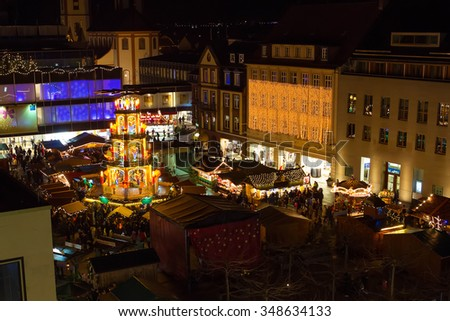 Traditional christmas market in the historic center of Fulda, Germany