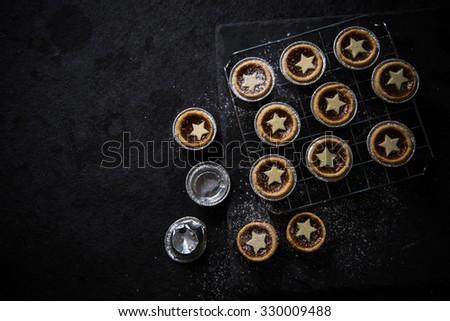 Traditional Christmas mince pie, from above - stock photo