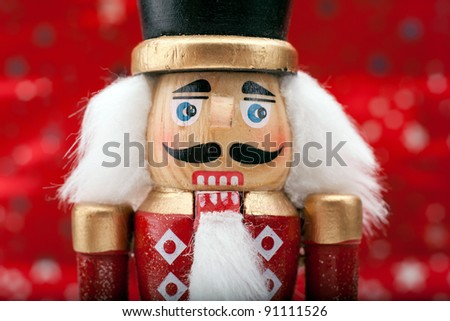 Traditional Christmas Nutcracker Wearing A Old Military Style Uniform - stock photo