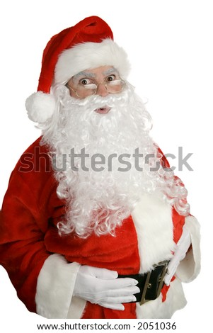 Traditional Christmas Santa Clause looking surprised.  Isolated on white. - stock photo