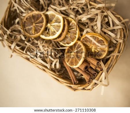 Traditional Christmas spices :  star anise  and cinnamon bark sticks - stock photo