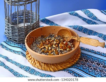 Traditional Christmas sweet meal kutia - stock photo