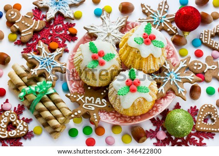 Traditional Christmas sweets and treats - stock photo