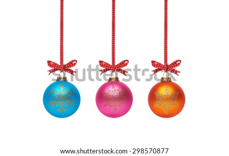 Traditional Christmas Tree Decorations isolated on a white background.