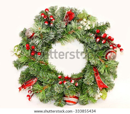 Traditional Christmas wreath for entrance door decoration