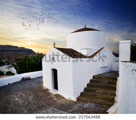 Traditional church in Lindos, Rhodes island, Greece. - stock photo