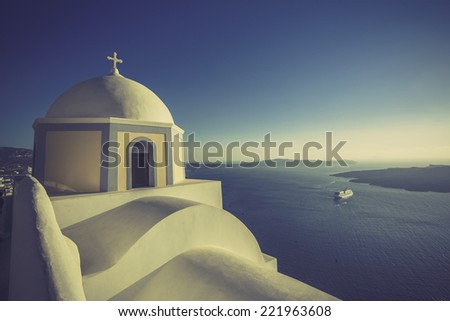 Traditional church in Thira, Santorini, Greece-vintage look
