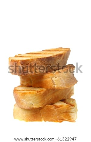 traditional  ciabatta bread used for bruschetta and other appetizers isolated over white - stock photo
