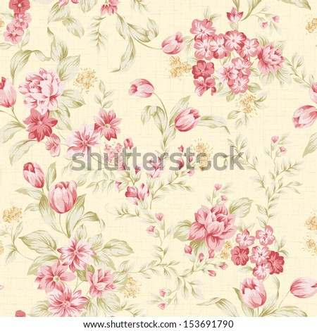 Traditional classic rose seamless pattern - For easy making seamless pattern use it for filling any contours. - stock photo