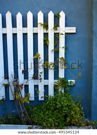 Traditional classic vintage design white wooden fence in front of a blue painted wall