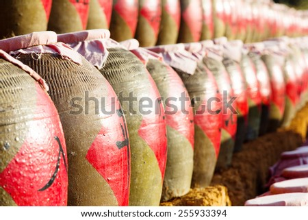 Traditional clay bowl for food storage at Ban Rak Thai (the Thai-loving village) Chinese refugees settling in Northern Thailand.  - stock photo