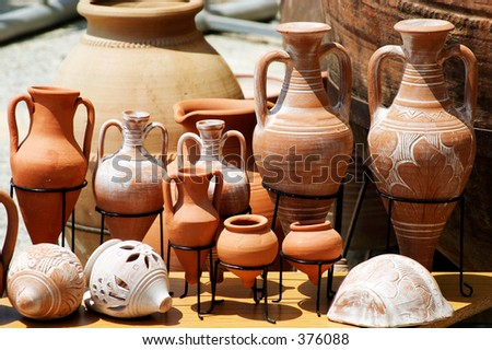 Traditional clay pots on display - stock photo